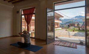 Yoga studio in Kathmandu overlooking the city and the Himalayas